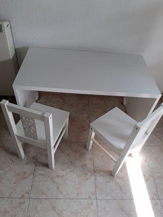 Mesa y 2 sillas madera blanca Ikea