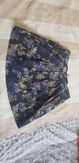 Falda mini azul marino flores