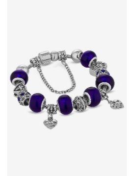 ava white gold plated blue bracelet