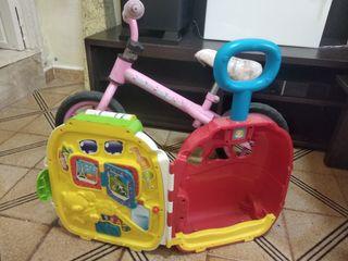 bicicleta sin pedales y maleta andador
