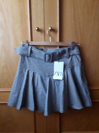 Falda pantalón vichy Zara nuevo con etiqueta M
