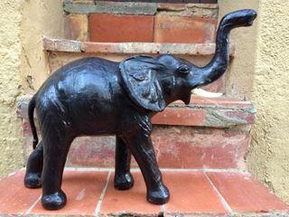 Figura elefante piel cuero vintage 55cm