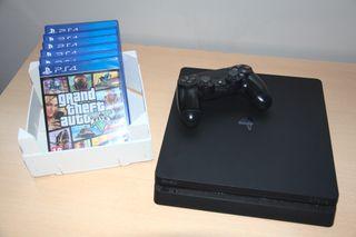 PlayStation 4 Slim 1 TB + Mando + 6 juegos