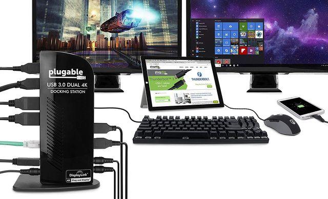 Estación dual 4k USB 3.0 plugable conex monitores