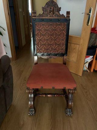 Mesa de madera+sillas talladas
