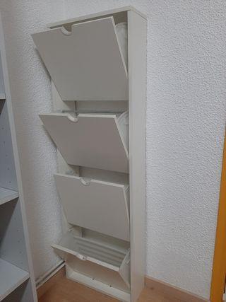 Zapatero madera 4 puertas blanco