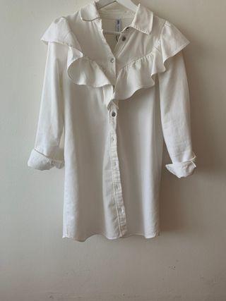Chaqueta/vestido blanco vaquero volantes