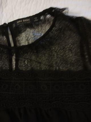 zara blusa negra vestir