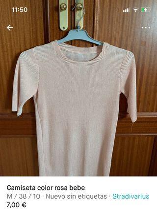 Camiseta color rosa bebe