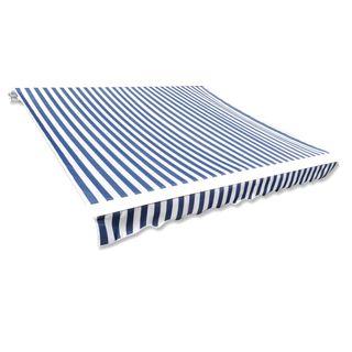 Toldo de lona azul y blanco 3x2,5 m sin armazón