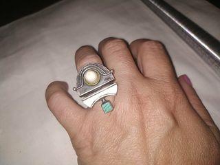 anillo antiguo esmeralda marfil y hueso plata