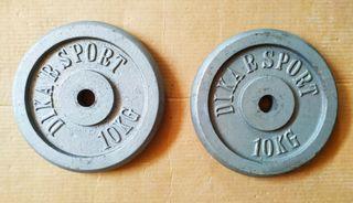 2 discos de pesas de 10 kg marca Dikar Sport