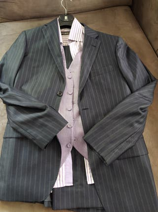 traje caballero talla 48 con camisa y chaleco