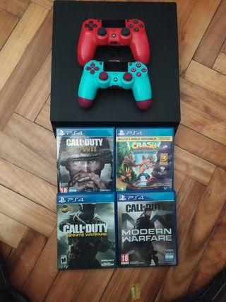 PS4 Pro 2 mandos, 4 juegos y cargadores
