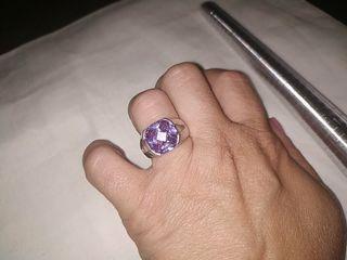 anillo de plata talla antiguo amatista