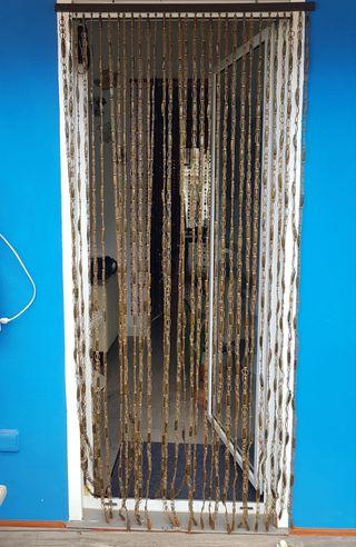Cortina de canutillo de madera para puerta
