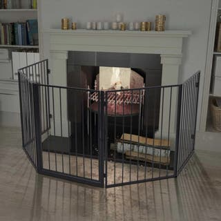 Valla reja de chimenea para mascotas acero negro