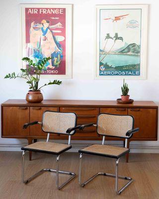 2 sillas cesca con reposabrazos made in italy