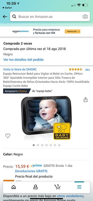 Espejo retrovisor bebé x 2