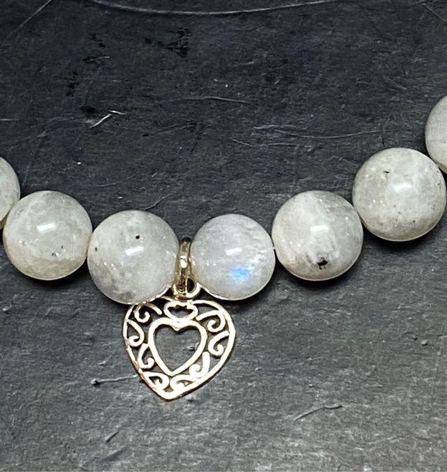 Pulsera de cuentas de piedra luna y plata de ley