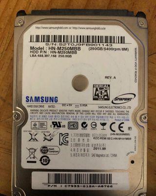 Disco duro mecánico Samsung de 250 gb