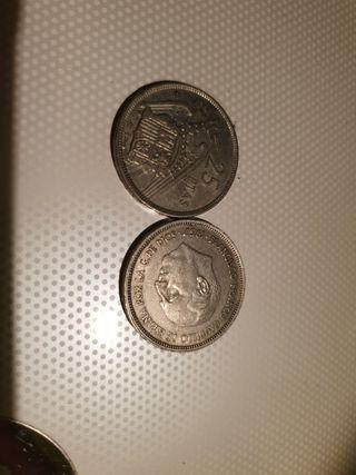 Monedas antiguas 25 pesetas.