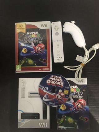Lote de Mario galaxy+ mando wii+ nunchuck