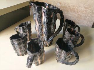 juego jarras vintage cerámica esmaltada