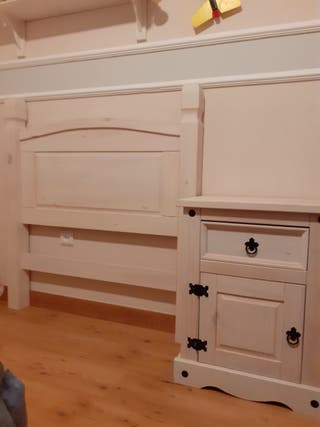 Cabecero de cama de 90 y mesilla rústica blanca