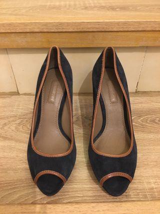 Zapatos plataforma azul marino Peep Toes