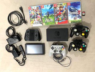 Nintendo Switch + 5 juegos + 4 mandos