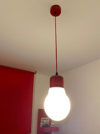 Lampara colgante de techo roja aluminio