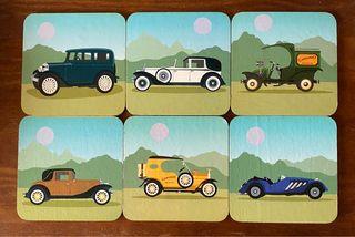 Colección 6 posavasos vehículos antiguos