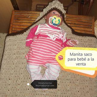 manta saco bebe hecha por mi a crochet