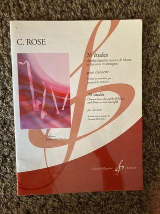 Libro de clarinete C. Rose 26 estudios