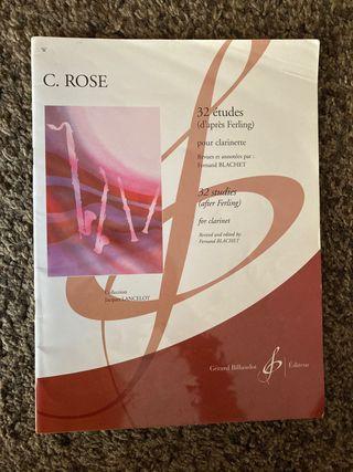 Libro de clarinete C. Rose 32 estudios