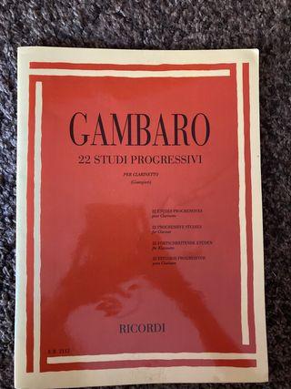 Libro de clarinete Gambaro 22 estudios
