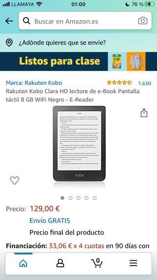Ebook kobo Clara hd 6 pulgadas
