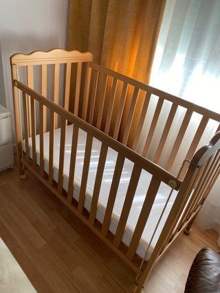 Cuna madera maciza de Micuna 60x120 + colchón