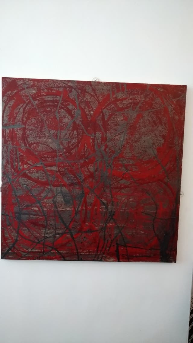 Abstract Acrylic on Stretched Canvas Frame.