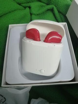 auriculares i7S nuevos rojo y blanco