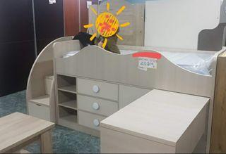 Cama compacta con escritorio y escalera-cajonera