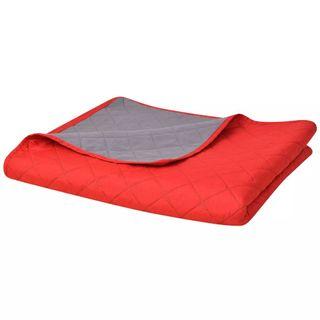 Colcha de cama doble cara roja y gris 170x210 cm