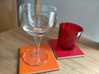posavasos cerámica rojo y naranja