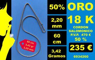 18K Collar Cordon 2,20mm 60cm Oro 18 Kilates 100%