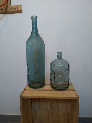 Botellas decoración cristal azul turquesa