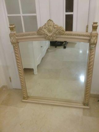 espejo antiguo biselado madera 55€
