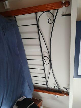 cabecero pino y forja cama 150