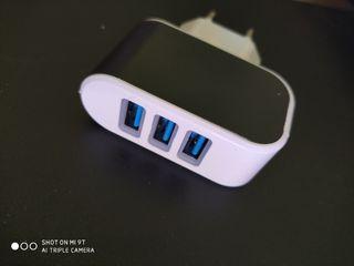 Cargador de corriente 3 USB de led 3.1A