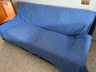 Sofá antiguo negro de 2 plazas.